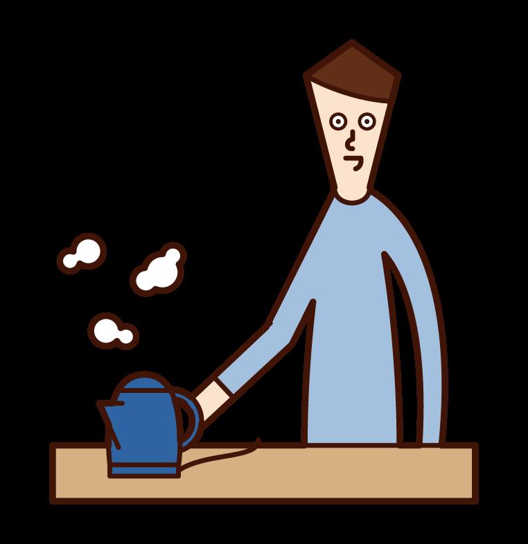 電気ポットでお湯を沸かす人(男性)のイラスト