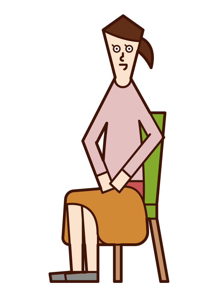 Illustration of a woman with a blanket on his lap