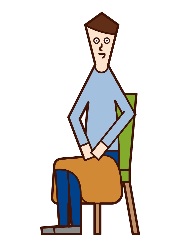 Illustration of a man (male) with a blanket on his lap