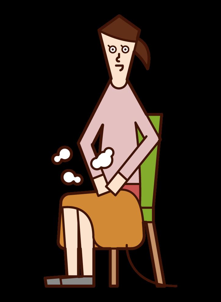 電気毛布を膝にかけている人(女性)のイラスト