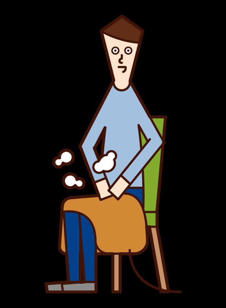 電気毛布を膝にかけている人(男性)のイラスト