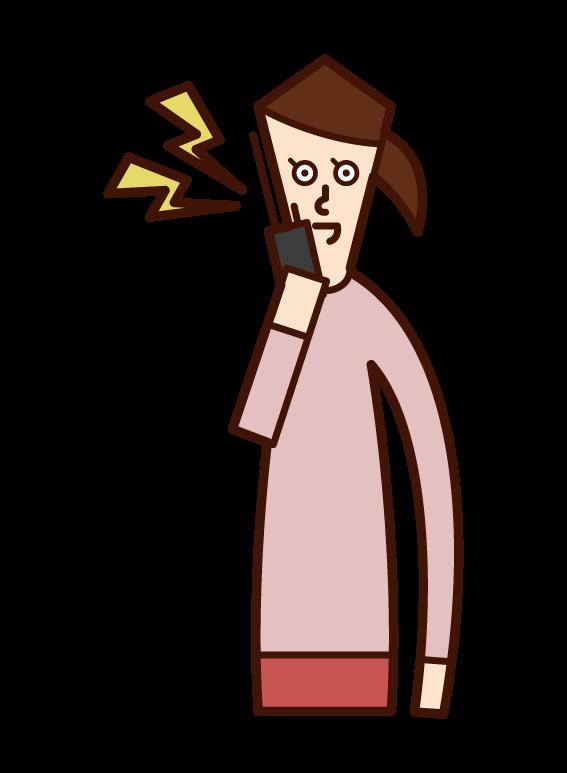 Illustration of a woman talking on a walkie-talkie