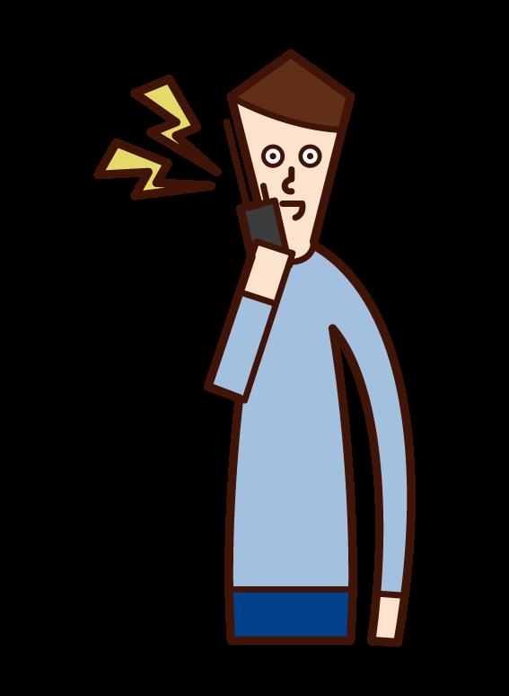 Illustration of a man (male) speaking on a walkie-talkie