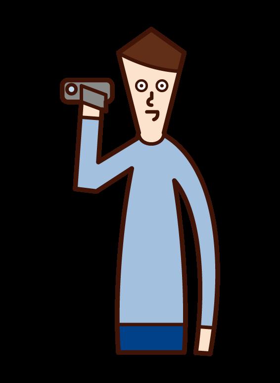ビデオカメラで撮影する人(男性)のイラスト