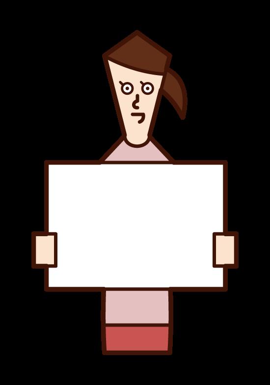メッセージボードを掲げる人(女性)のイラスト