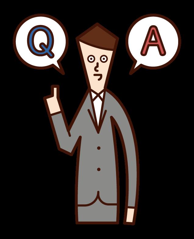 質問に答える人・クイズを出題する人(男性)のイラスト