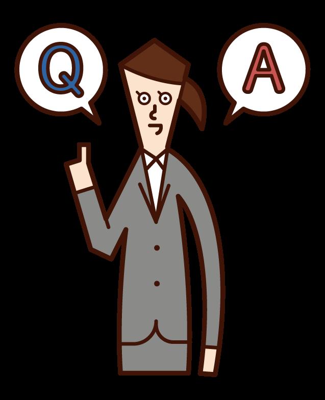 質問に答える人・クイズを出題する人(女性)のイラスト