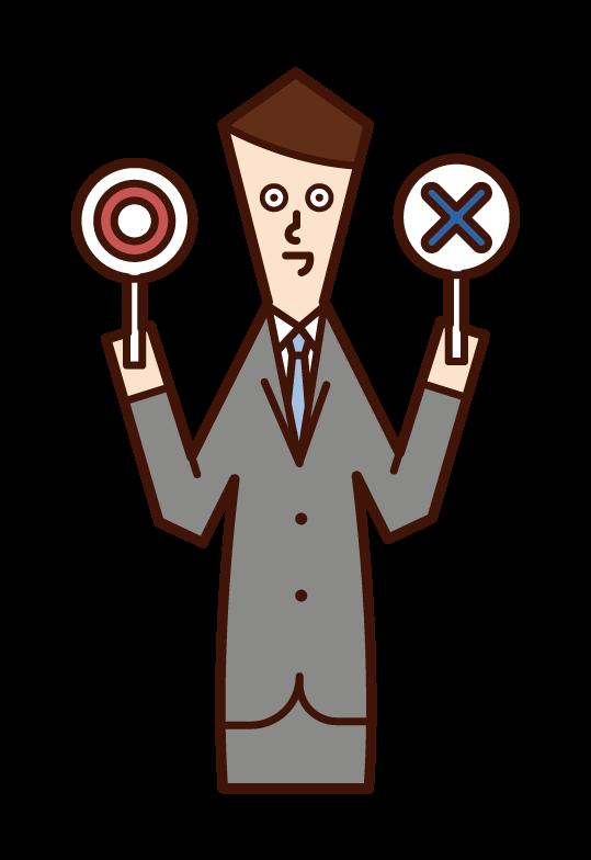クイズを出題する人(男性)のイラスト