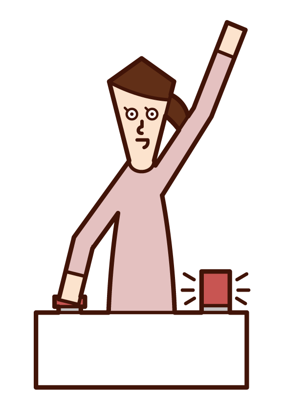 ボタンを押してクイズに回答する人(女性)のイラスト