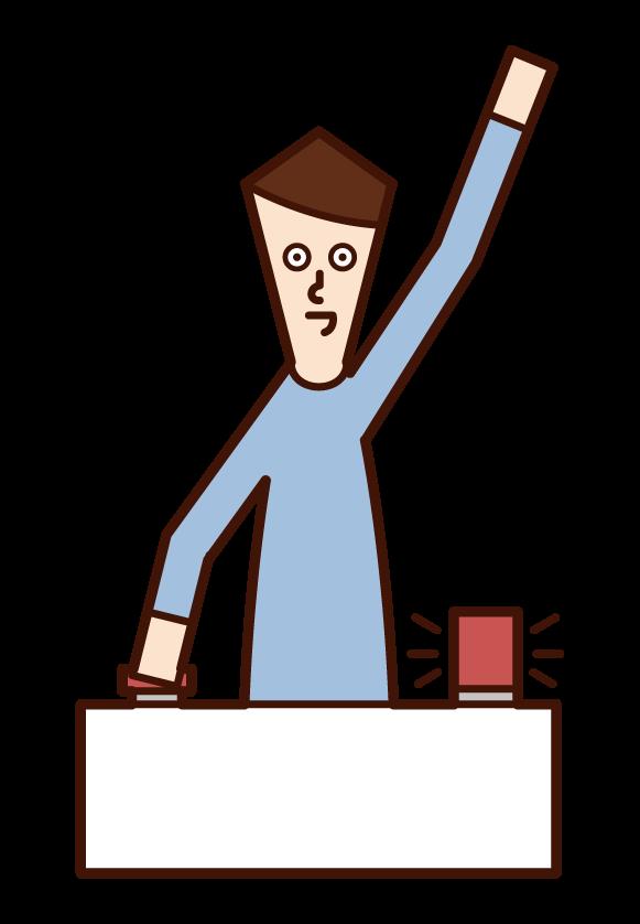 ボタンを押してクイズに回答する人(男性)のイラスト