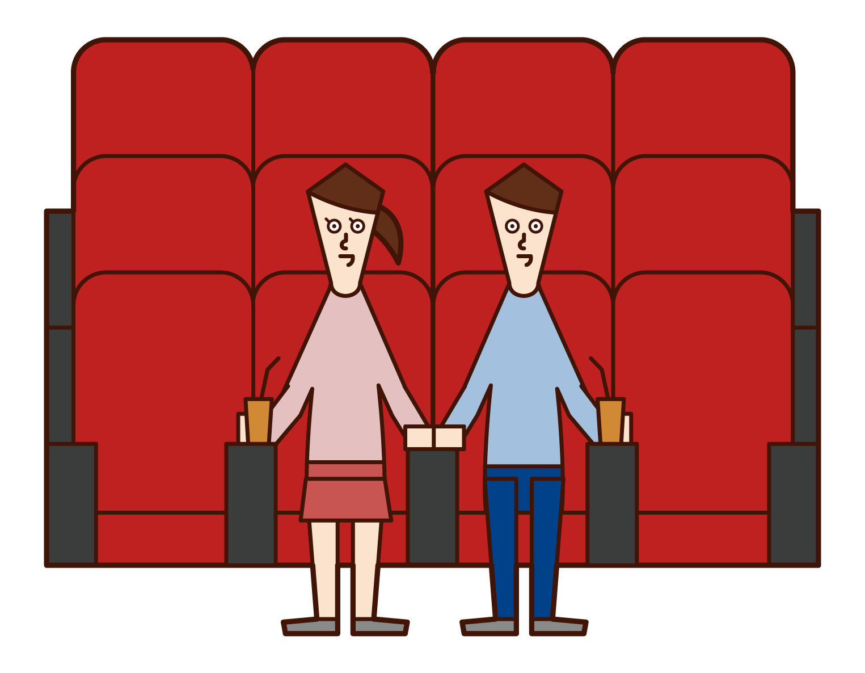 映画館で映画を見る人たちのイラスト