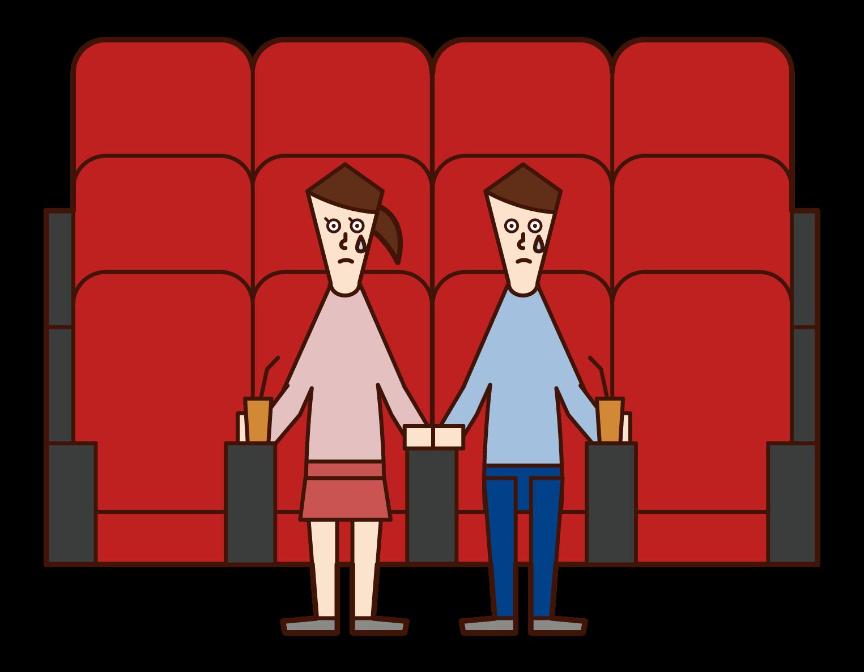 映画館で映画を見ながら涙を流す人たちのイラスト