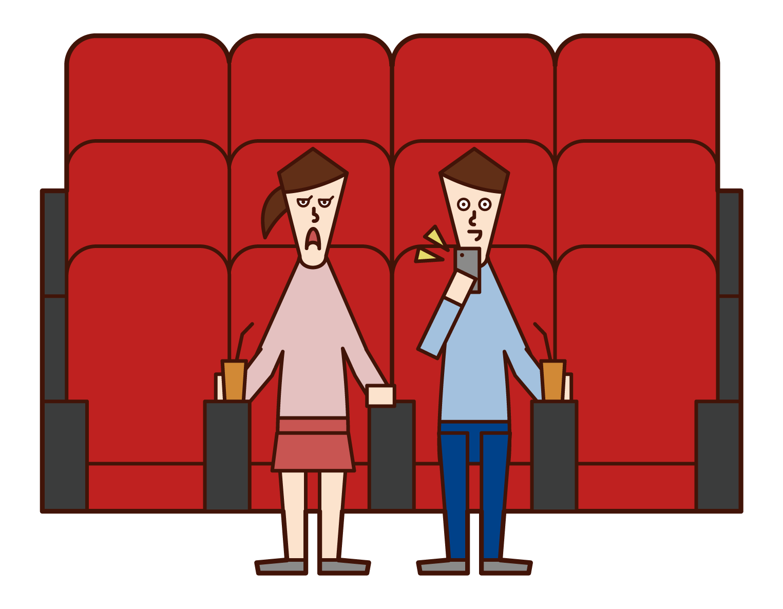 Illustration of a man using a smartphone in a movie theater