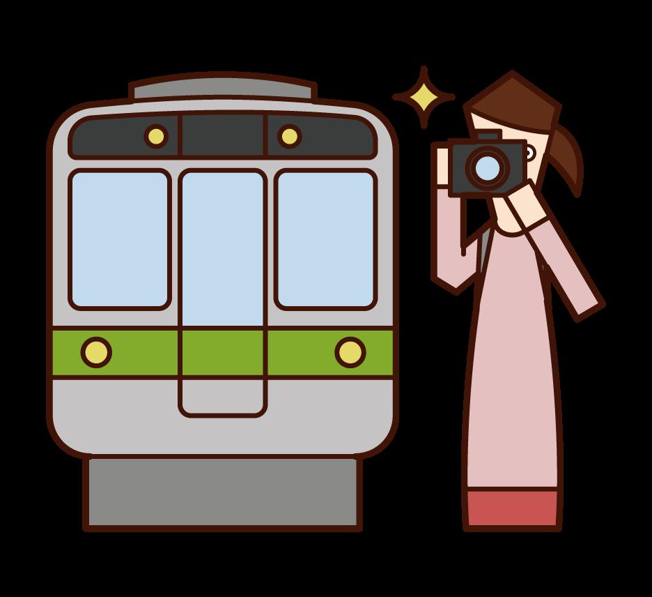 電車をカメラで撮影する人(女性)のイラスト