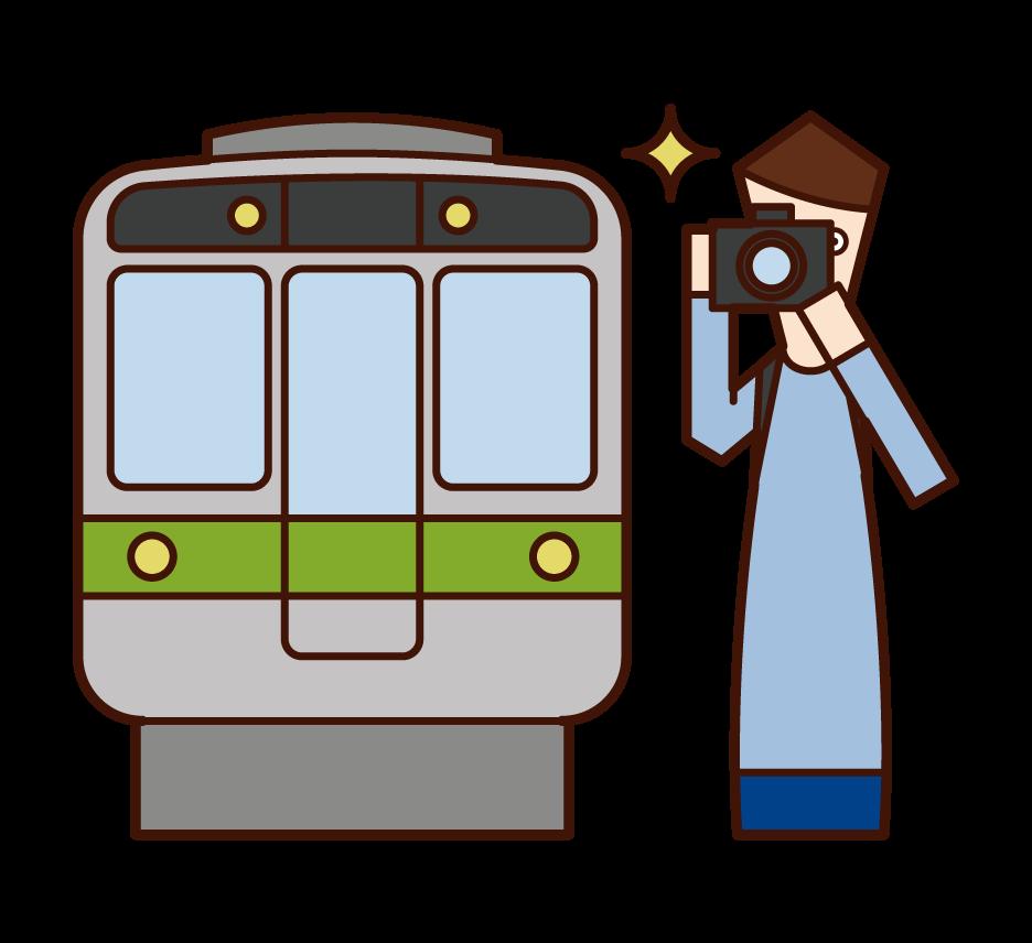 電車をカメラで撮影する人(男性)のイラスト