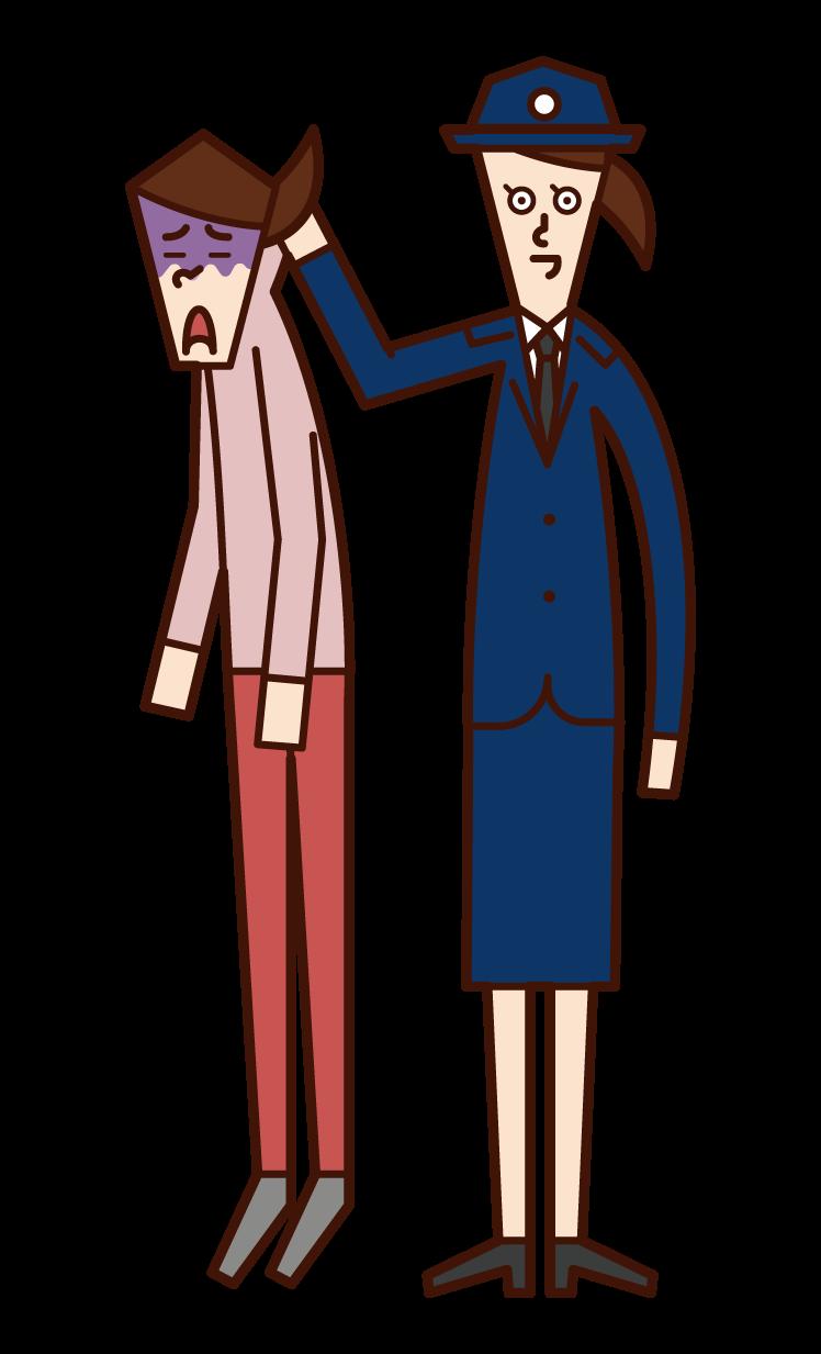 抓獲罪犯的員警(女性)的插圖