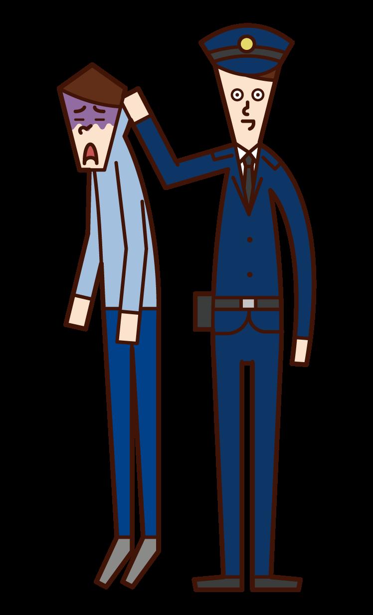 抓獲罪犯的員警(男性)的插圖