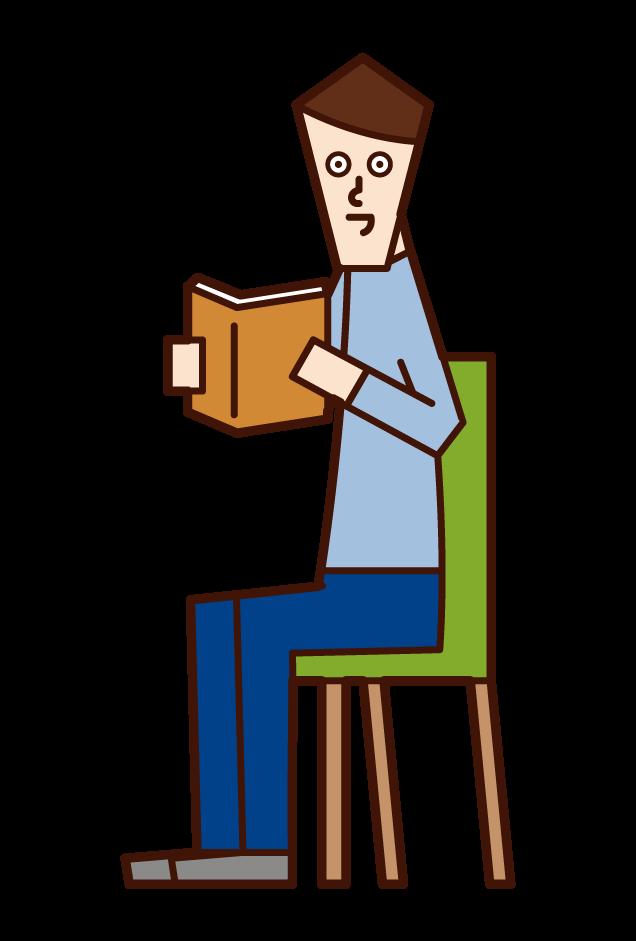 책을 읽는 사람 (남성)의 그림