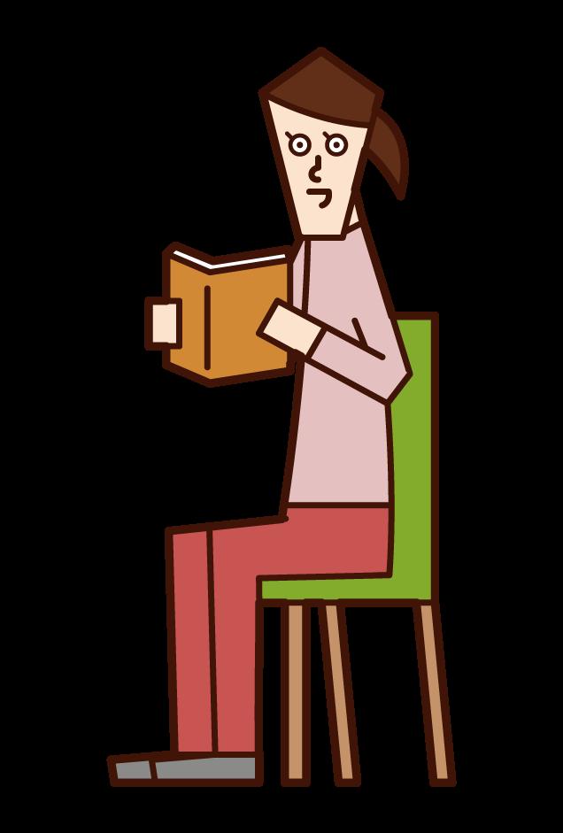 책을 읽는 사람 (여성)의 그림