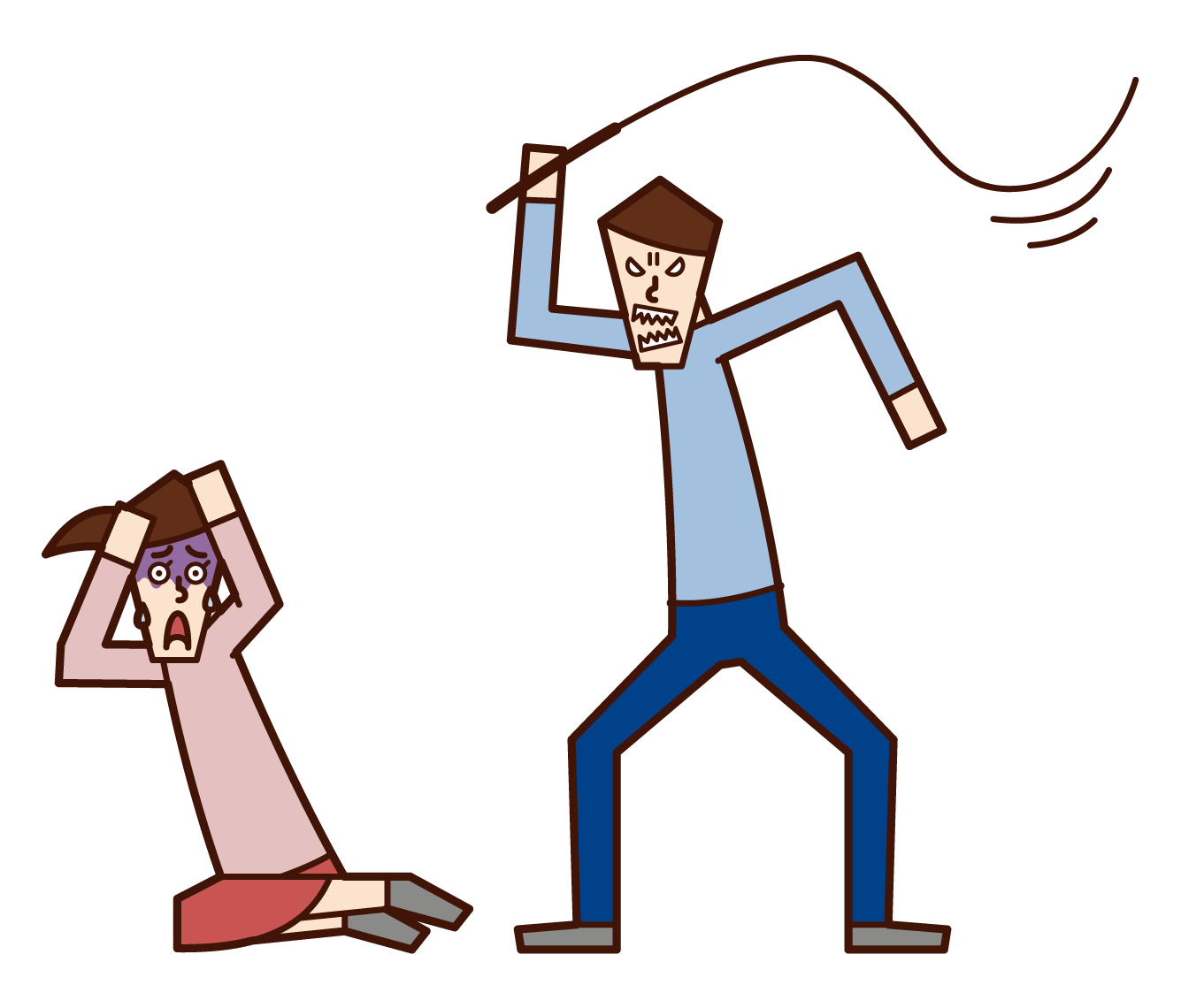 Illustration of a man who commits domestic violence