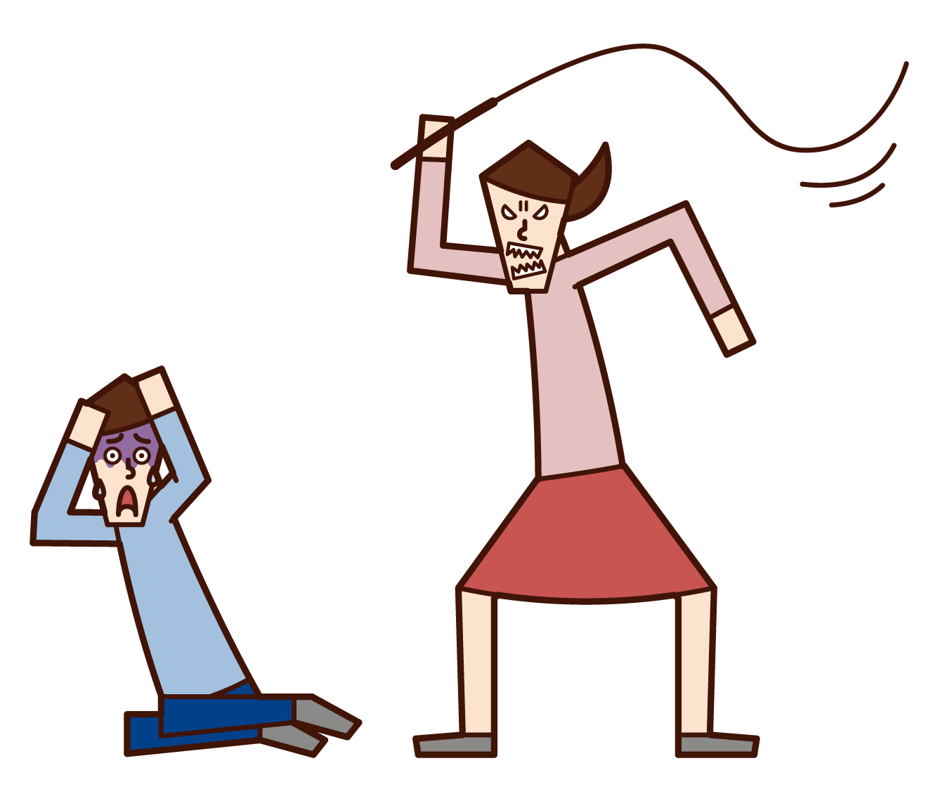 Illustration of a woman who commits domestic violence