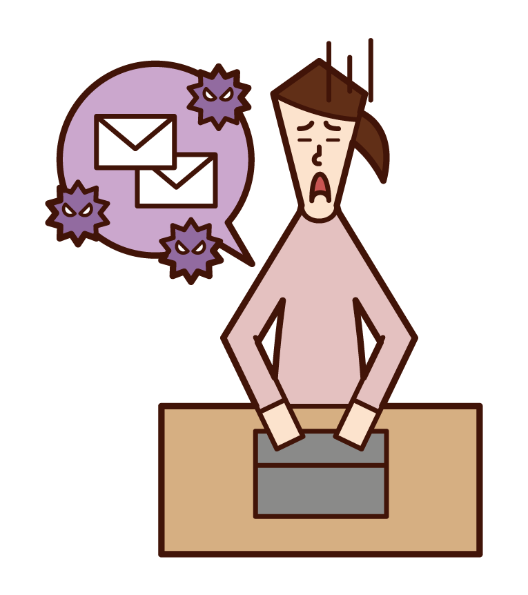 Illustration of a woman who is troubled by spam mail