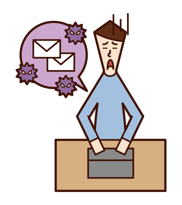 Illustration of a man who is troubled by spam mail