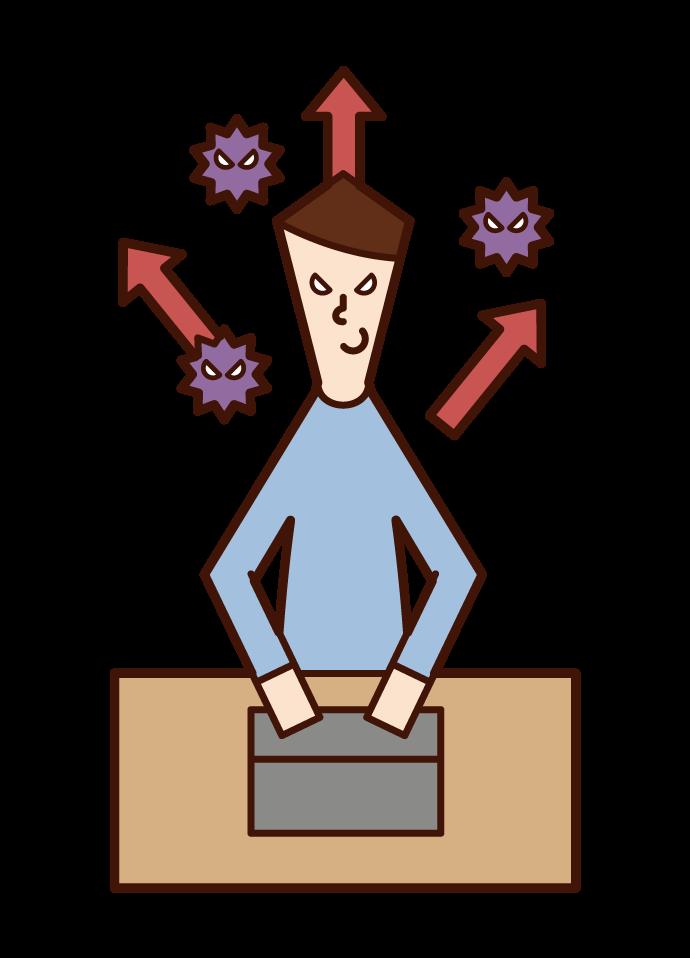 Illustration of a hacker (male) sending a virus