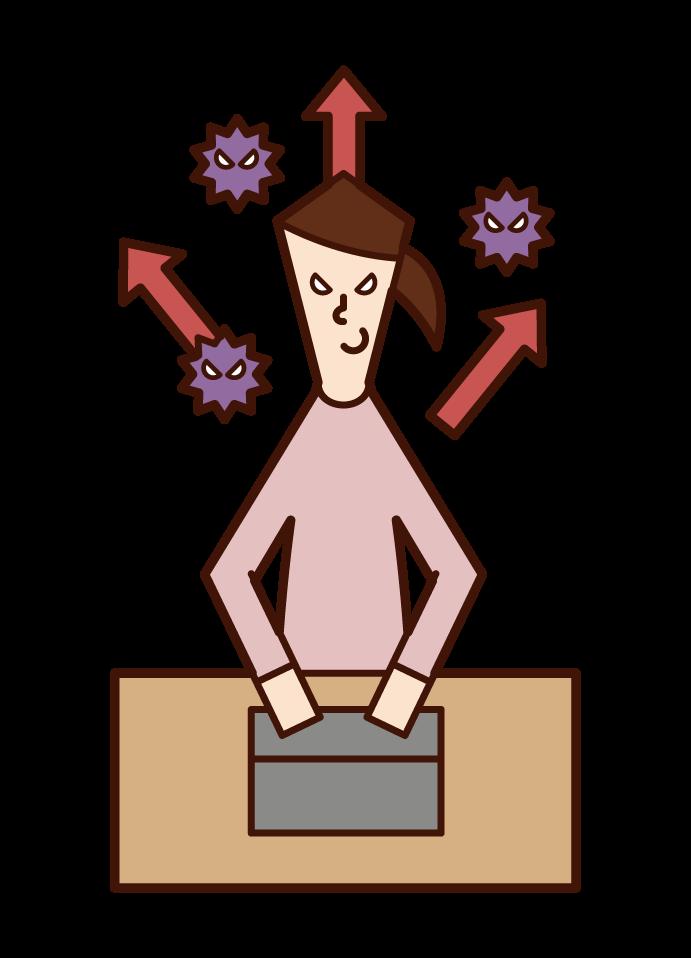 Illustration of a hacker (female) sending a virus