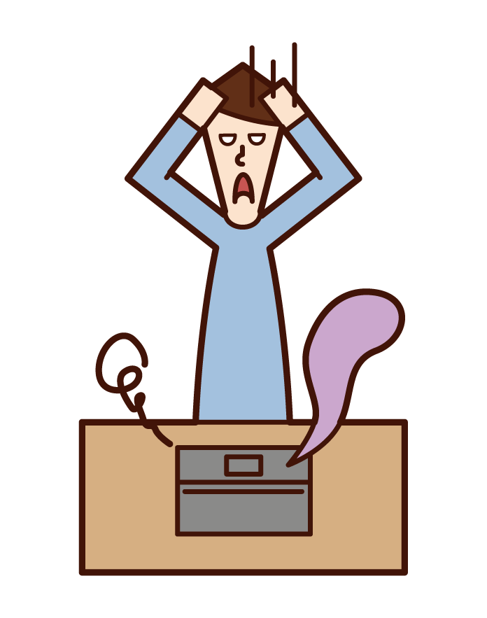 Illustration of a woman who is troubled by broken personal computer