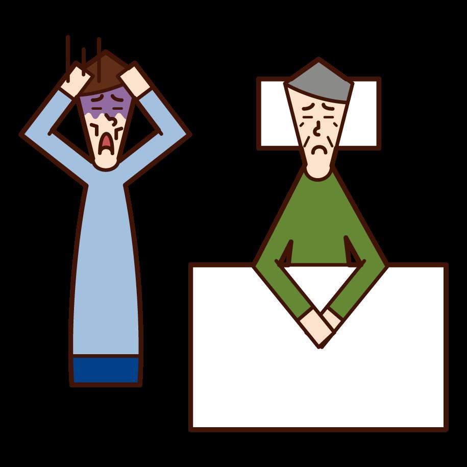 Illustration of nursing care fatigue (male)