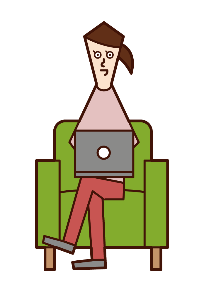 Illustration of a woman sitting on a sofa and using a computer