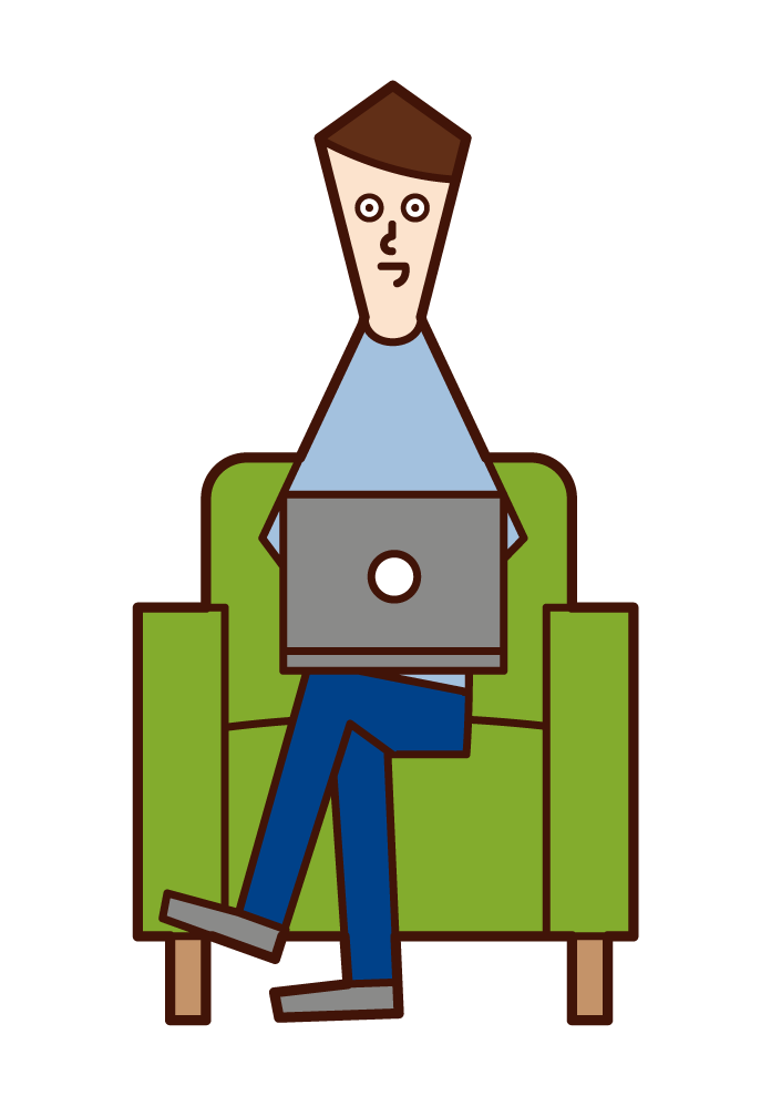 Illustration of a man sitting on a sofa and using a computer