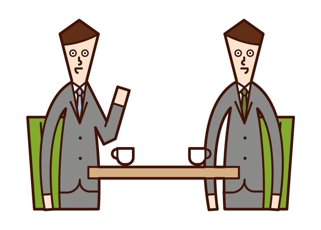 Illustration of meeting, meeting, counseling (male)