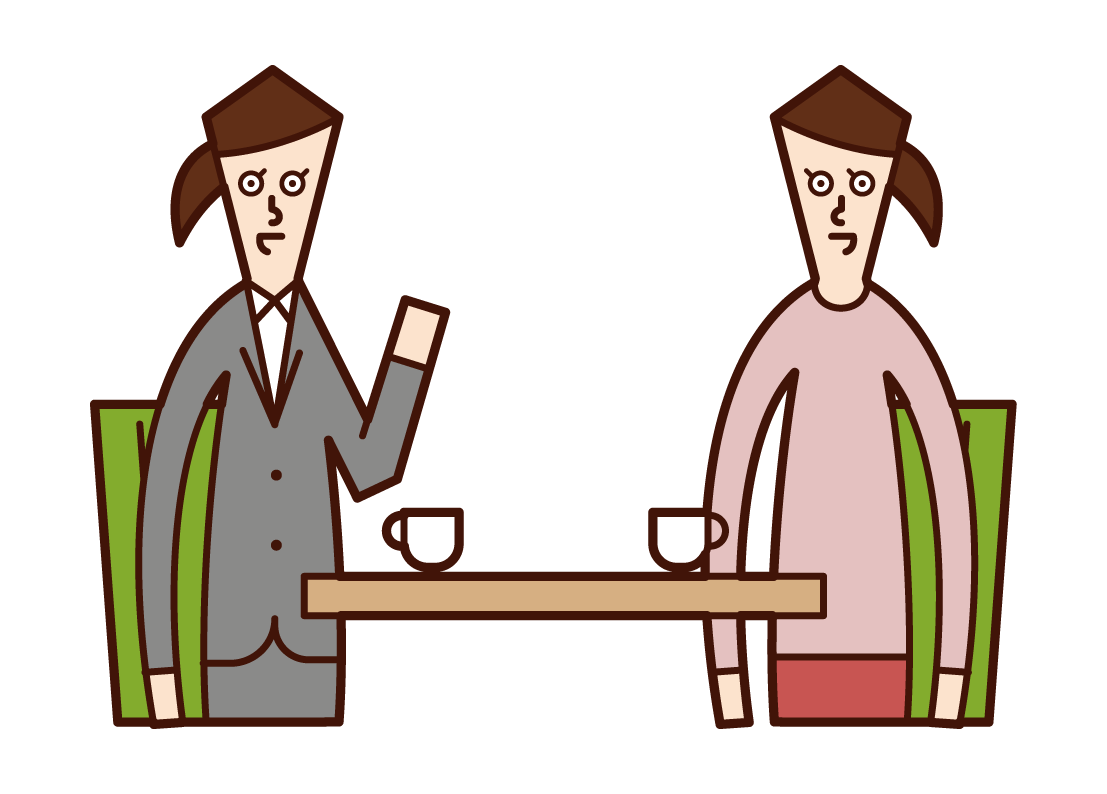 Illustration of conferences, meetings, counseling (female)