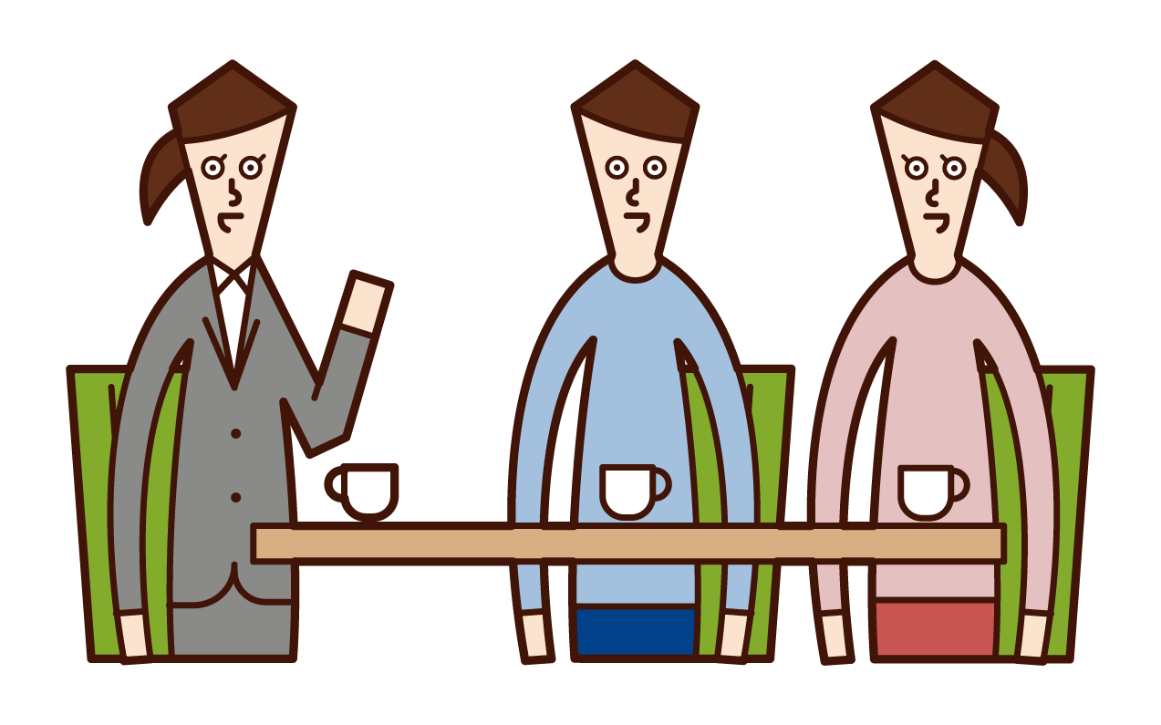 Illustrations of customer service, meetings, counseling