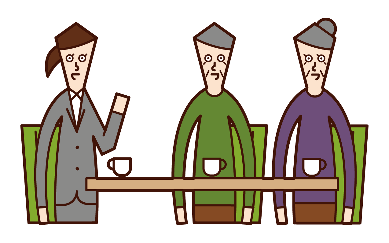 Illustration of a person serving, meeting, counseling